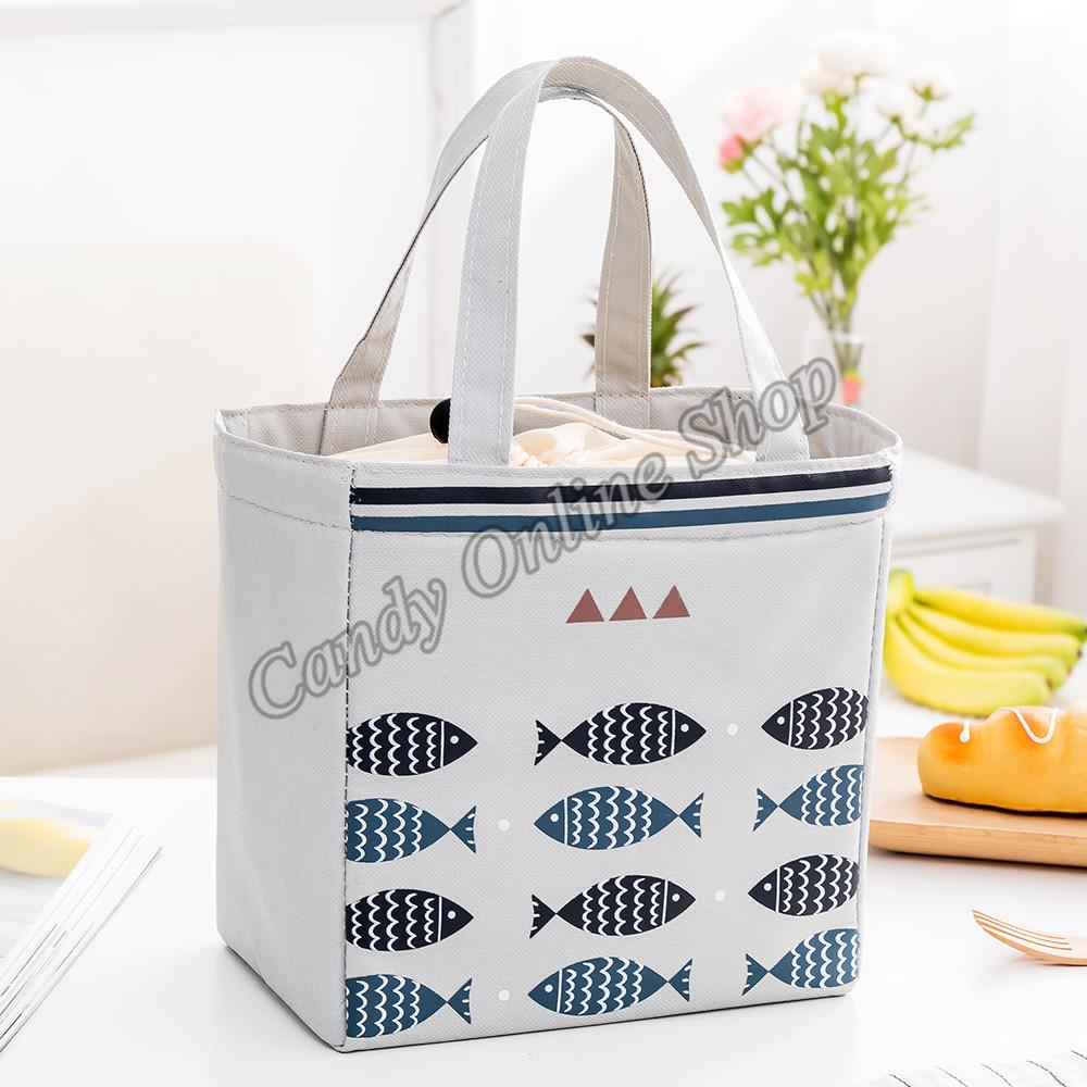 2ad5a90760a27 Candy Online Cute Fish Waterproof Insulated Food Lunch Bag Picnic Bag With  Strap Drawstring