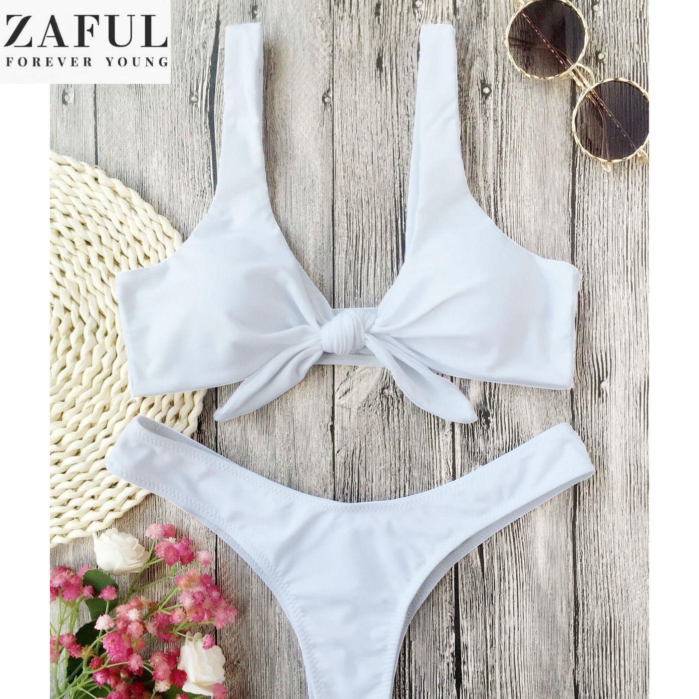 8c6a78fa5528a ZAFUL Fashion Girl Summer Holiday Scoop Neck Knotted Padded Thong Bikini  Beach Swimwear Sun Bar Bathing