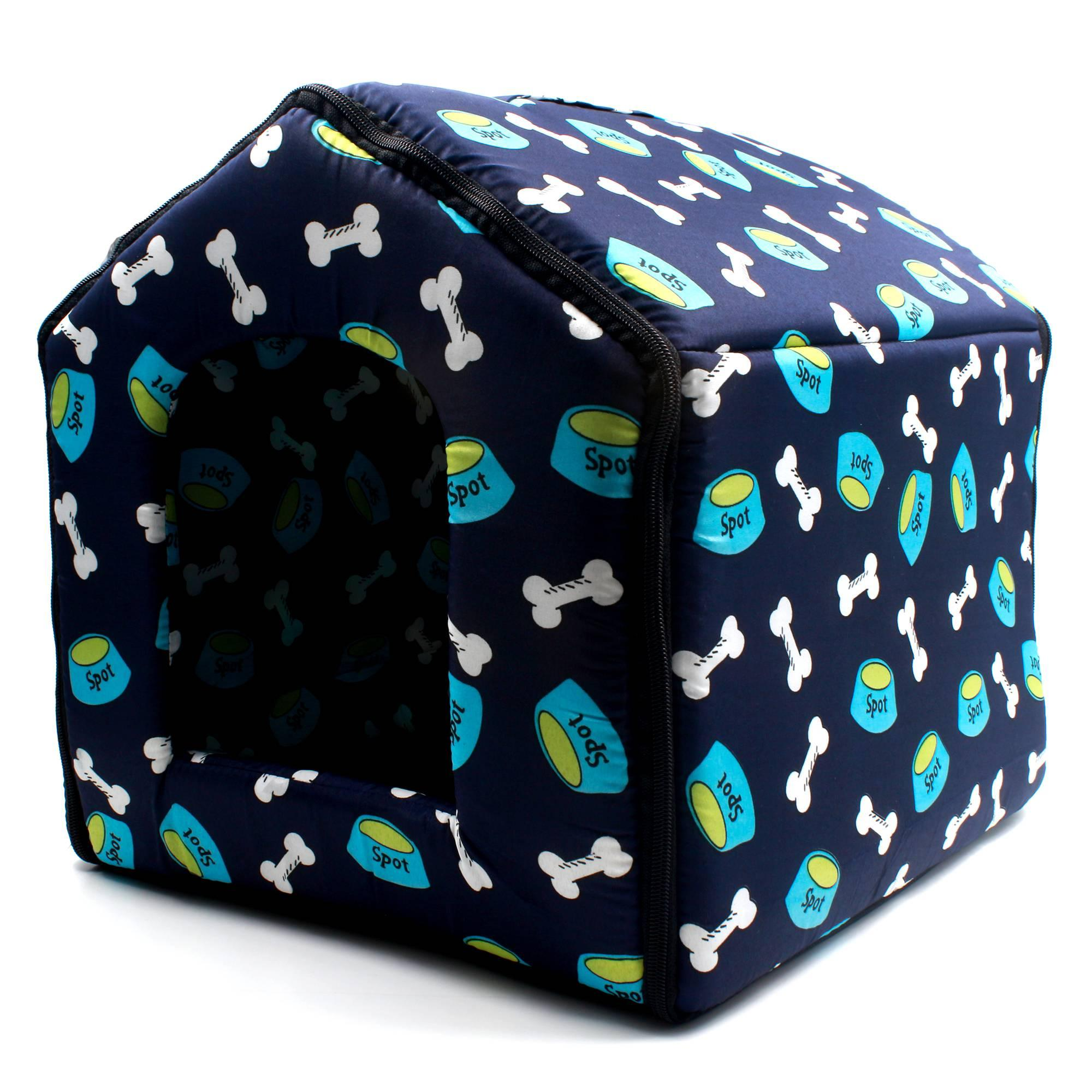 Digisoria Bowls And Bones Pattern Pet Dog House (blue) By Digisoria.