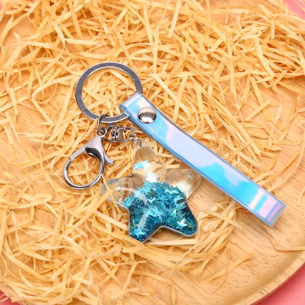 JIANI Pentagram Moving Liquid Acrylic Key Ring Keychain Quicksand Star Bag Accessories Malaysia