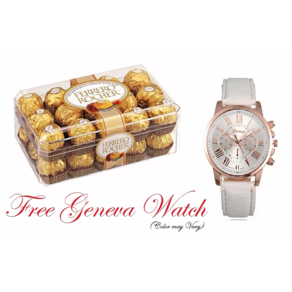 Buy Sell Cheapest Ferrero Rocher Best Quality Product Deals T24 Coklat 24pcs 30 Pieces Box Shape With Free 1pc Geneva Leather Watch Color May Vary