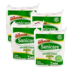 Sanicare Jumbo Kitchen Towel 4 Pack (2 Rolls Per Pack) By Tera Mart.