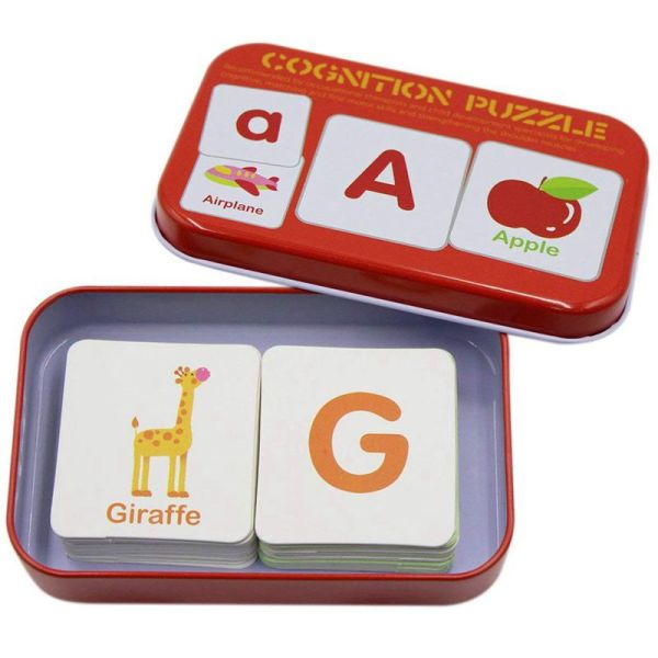 Bảng giá Anti-Tear Flash Cards Learning Alphabet Puzzle Cards, Matching Puzzle Cognitive Early Educational Learning Toys Mental Storage Box Alphabet Phong Vũ