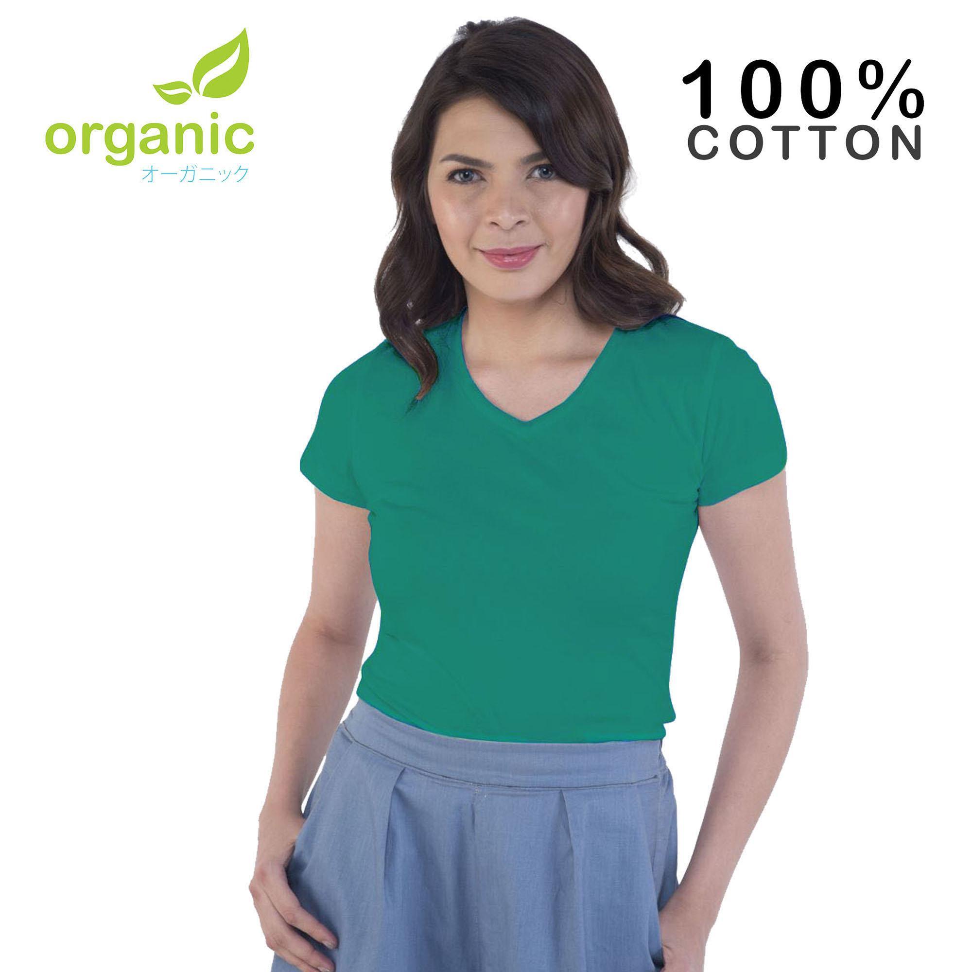 Organic Ladies 100% Cotton Vneck Fashionable Tees t shirt tshirt shirts  tshirts v neck blouse 71bcc00350