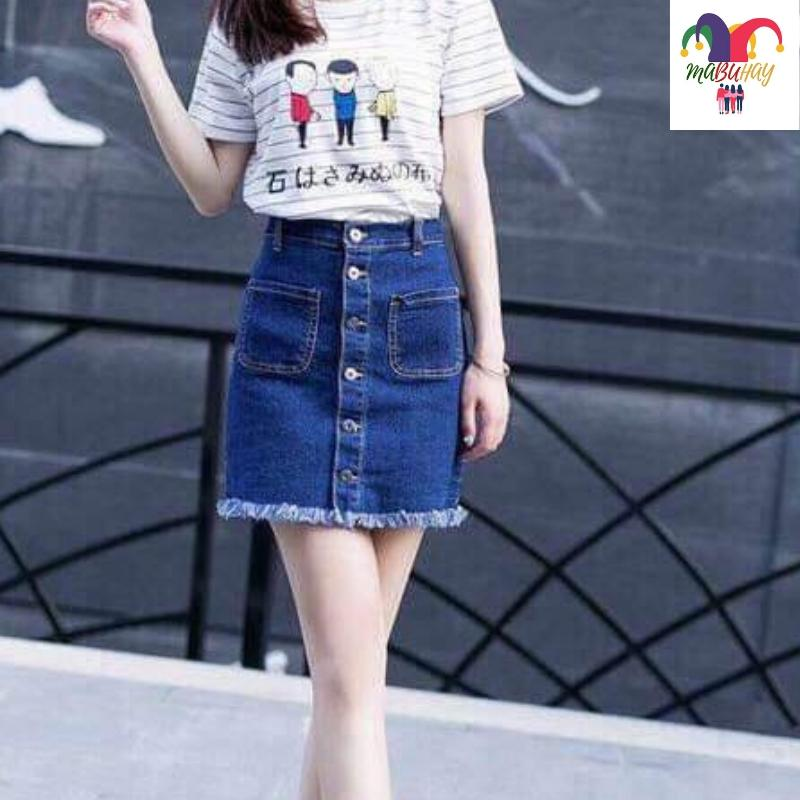 b6532081f699 Spring And Autumn 2019 Korean Style New Style High-waisted Denim Skirt women  CHIC Thin