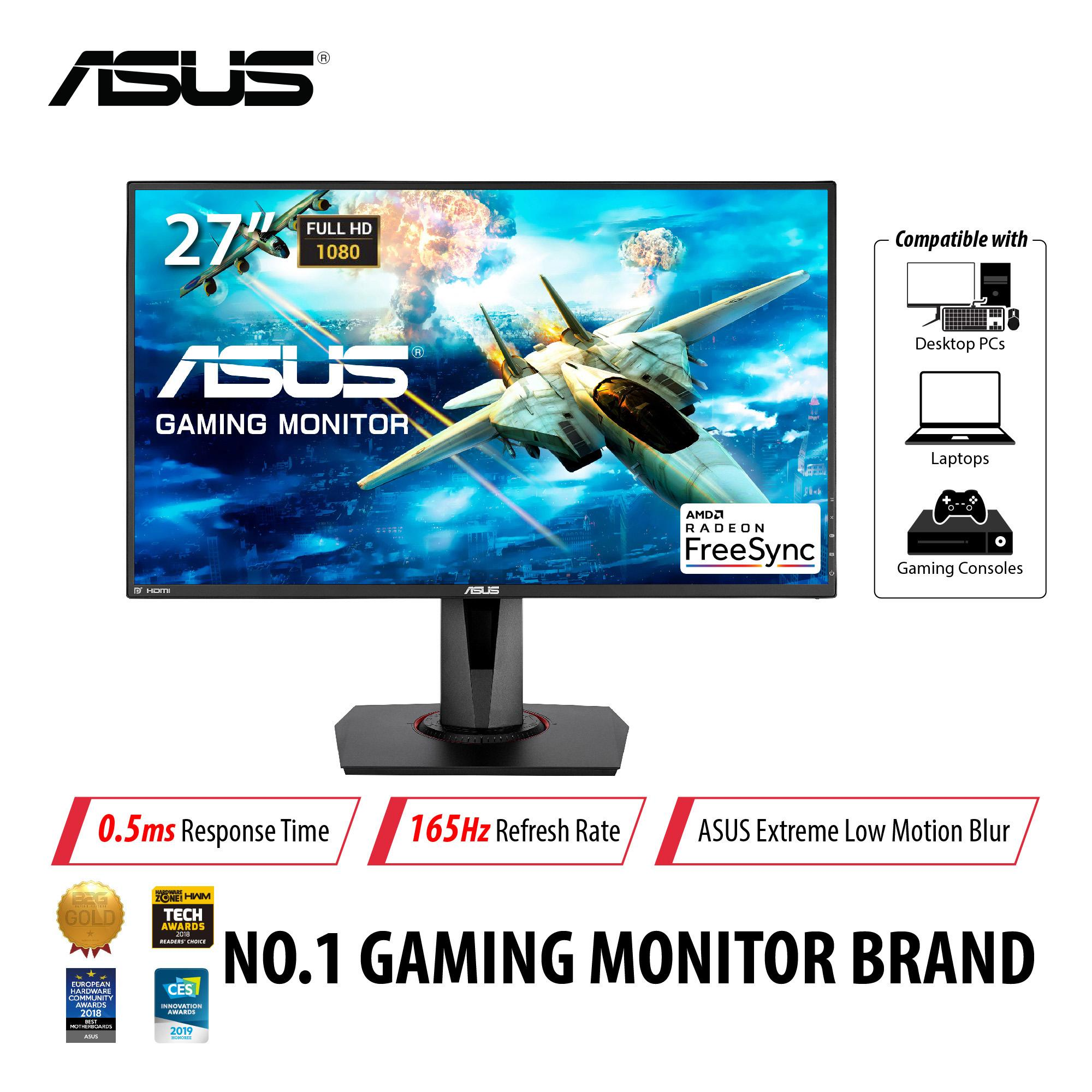 ASUS VG278QR Gaming Monitor - G-Sync Compatible, 27inch, Full HD, 0 5ms,  165Hz, FreeSync/Adaptive Sync