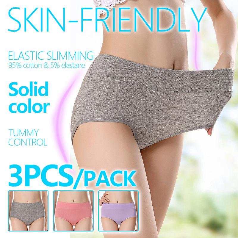 5e1724a6bc2c 3 pieces of pure cotton Arctic velvet ladies'underwear mid-waist cotton  large size
