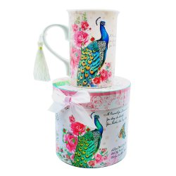 13063 Peacock Porcelain Mug in Matching Keepsake Box (Pink)