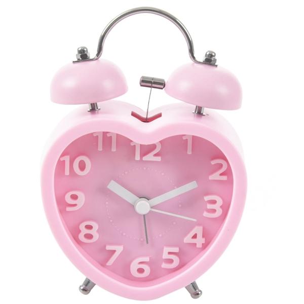 Cute Small Double-Bell Night Light Children Mini Quartz Alarm Clock Heart (Pink)