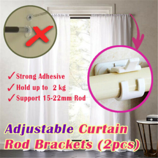 Tsuki 2PCS Hanging Rod Clamp Hooks Hanging Rod Clip Wall Curtain Hanging Rod Clamp Hooks Shower Curtain Rod Fixed Clip Bathroom Accessory