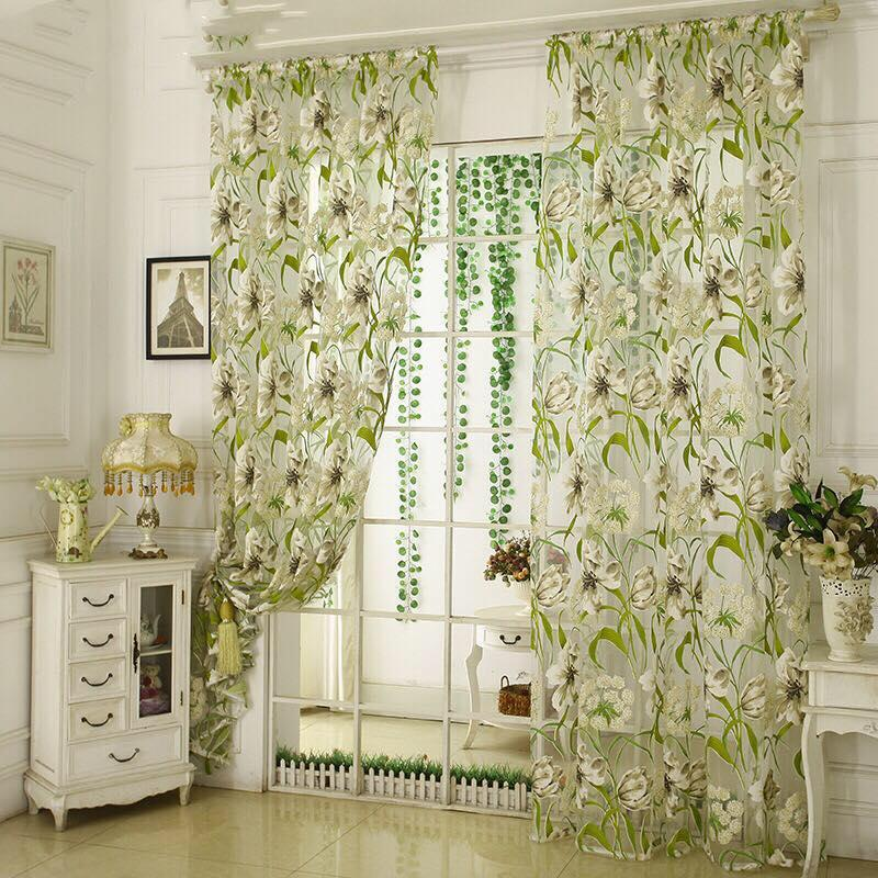 Window Home Curtain Tropical Floral Print Semi Sheer Curtain image