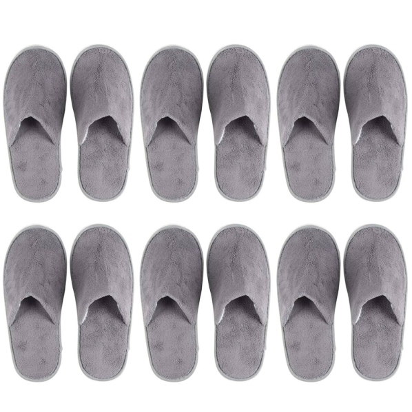 6-Pairs Disposable Slippers, Great for Hotel, Spa, Nail Salon Use-Non-Slip-Grey-Fits Up to US Mens Size 11 and US Womens Size 12 giá rẻ