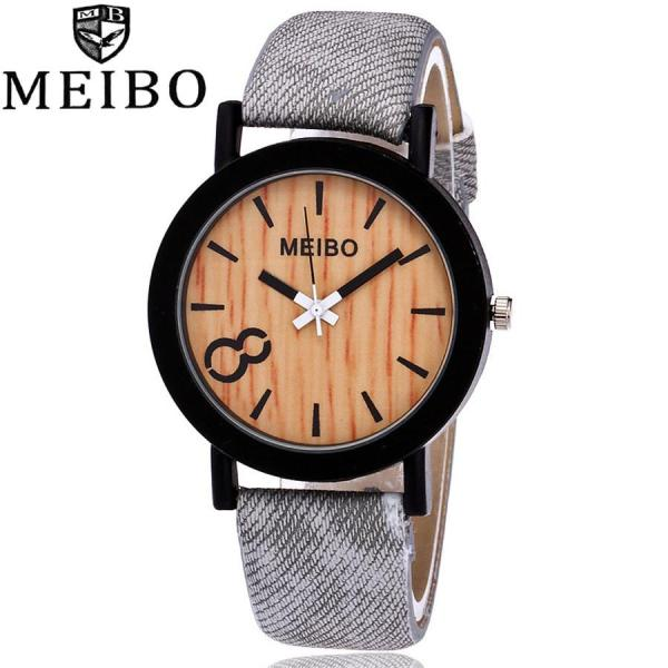 SNKJKW MEIBO Modeling Wooden Quartz Mens Watch Casual Wooden Color Leather Watch watch for women sale original new best seller Malaysia