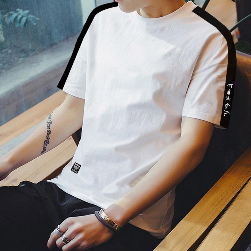 4d5b38dfadc6 Summer Men INS Short Sleeve T-shirt Trend Crew Neck Half Sleeve Men s Wear  Korean