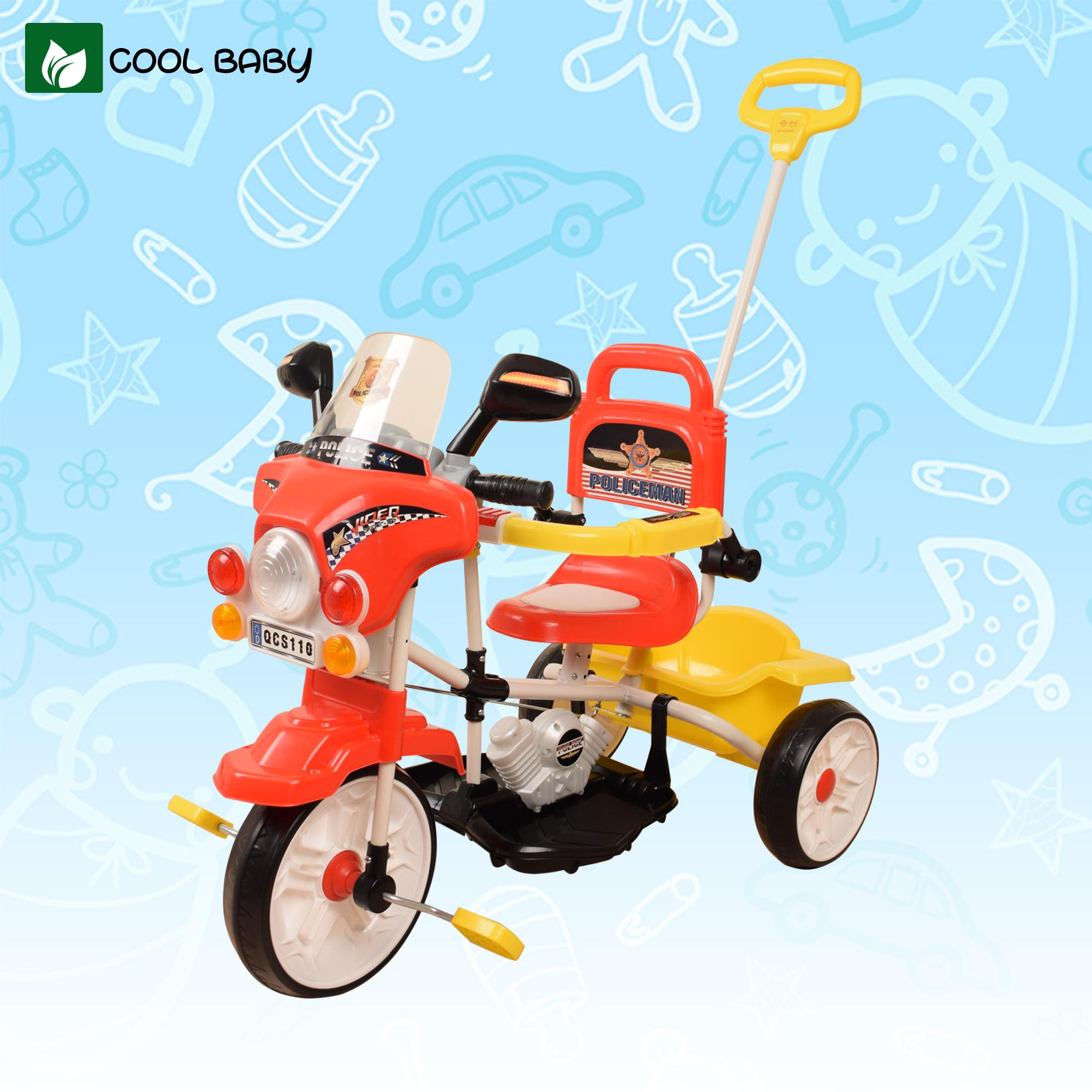 Cool Baby Police Tricycle Bike For Kids With Guide Assist Stroller With Safety Bar And Sounds By Cool Baby.