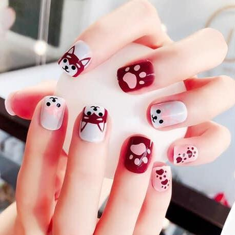 Nail Art Short Design Full Finished False Fake Nails 24 pcs. per set with Glue Philippines