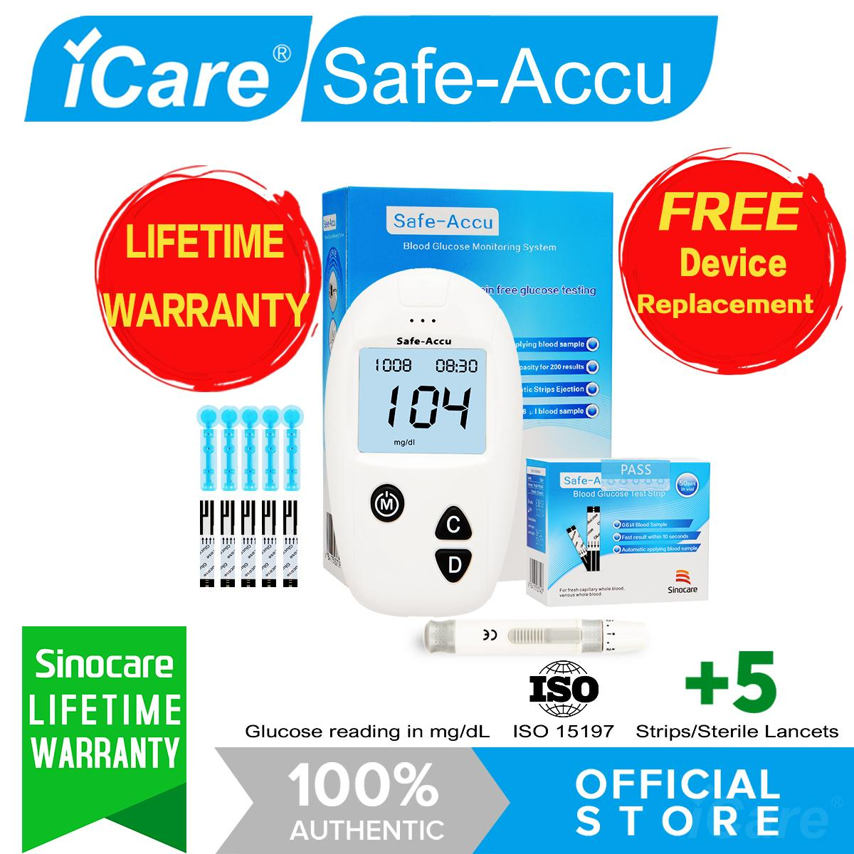 Safe-Accu SA05 Glucose Meter SET with (1 Blood sugar Glucose monitor, 5 Strips, 5 Lancets, 1 Lancing Device and Carrying Case) for Diabetic people