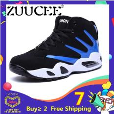 ZUUCEE Men Winter High-top Basketball Shoes Air Causion Sports Sneakers(blue black)【Free Shipping】