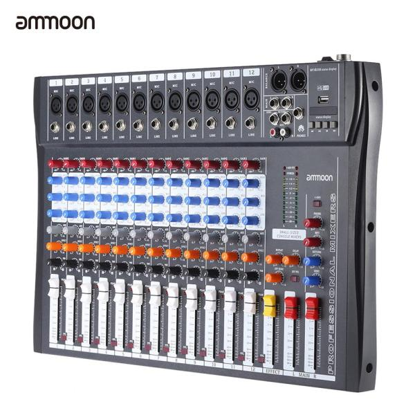 ammoon 120S-USB 12 Channels Mic Line Audio Mixer Mixing Console USB XLR Input 3-band EQ 48V Phantom Power with Power Adapter Malaysia