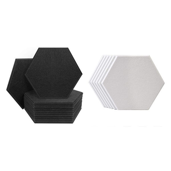 12x Hexagon Acoustic Panels Sound Proof Padding, 12 x 7 Inch & 6Pack Hexagon 3D Acoustic Panels Padding 14X12X0.4 Inch