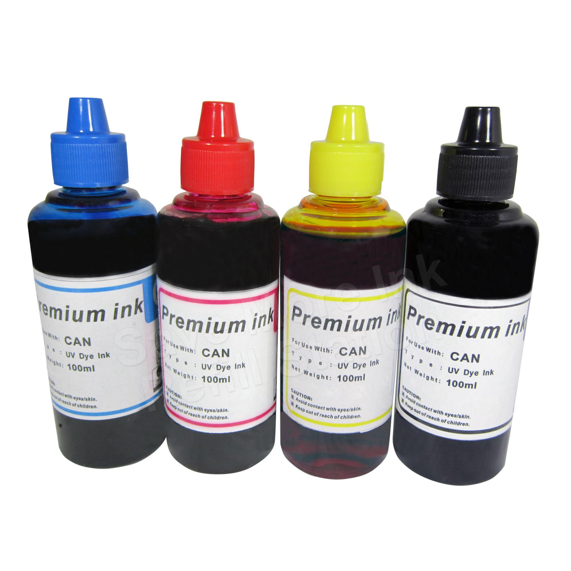 Premium Dye Inks 100ml for Canon/HP Inkjet Printers, Set of  4(Cyan/Magenta/Yellow/Black)