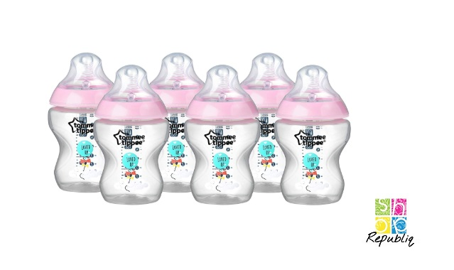 Blue 6-Piece Tommee Tippee Closer to Nature Decorated Bottles 260 ml