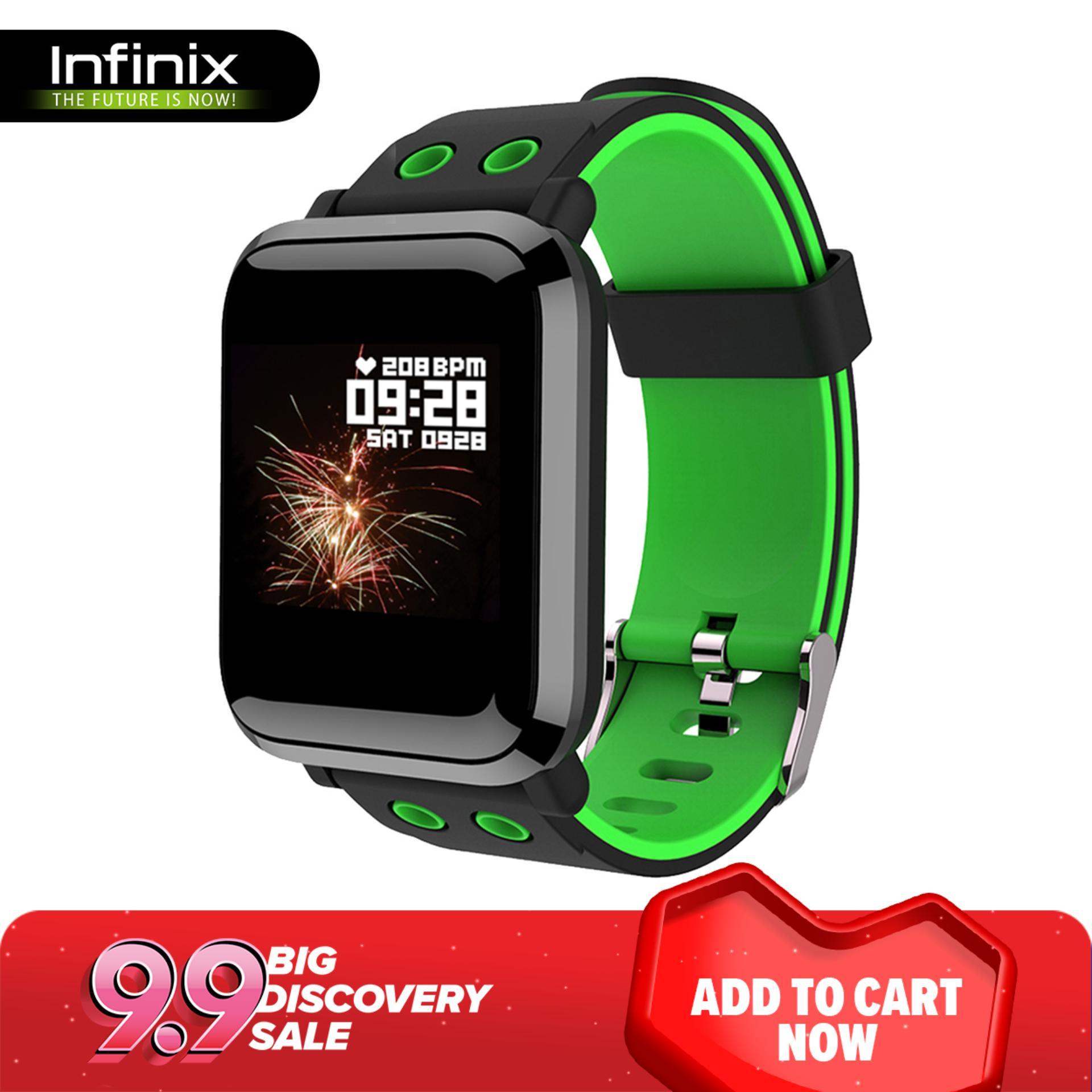 Infinix XW01 Heart-Rate Monitor Fitness Smart Watch (Black/Green)