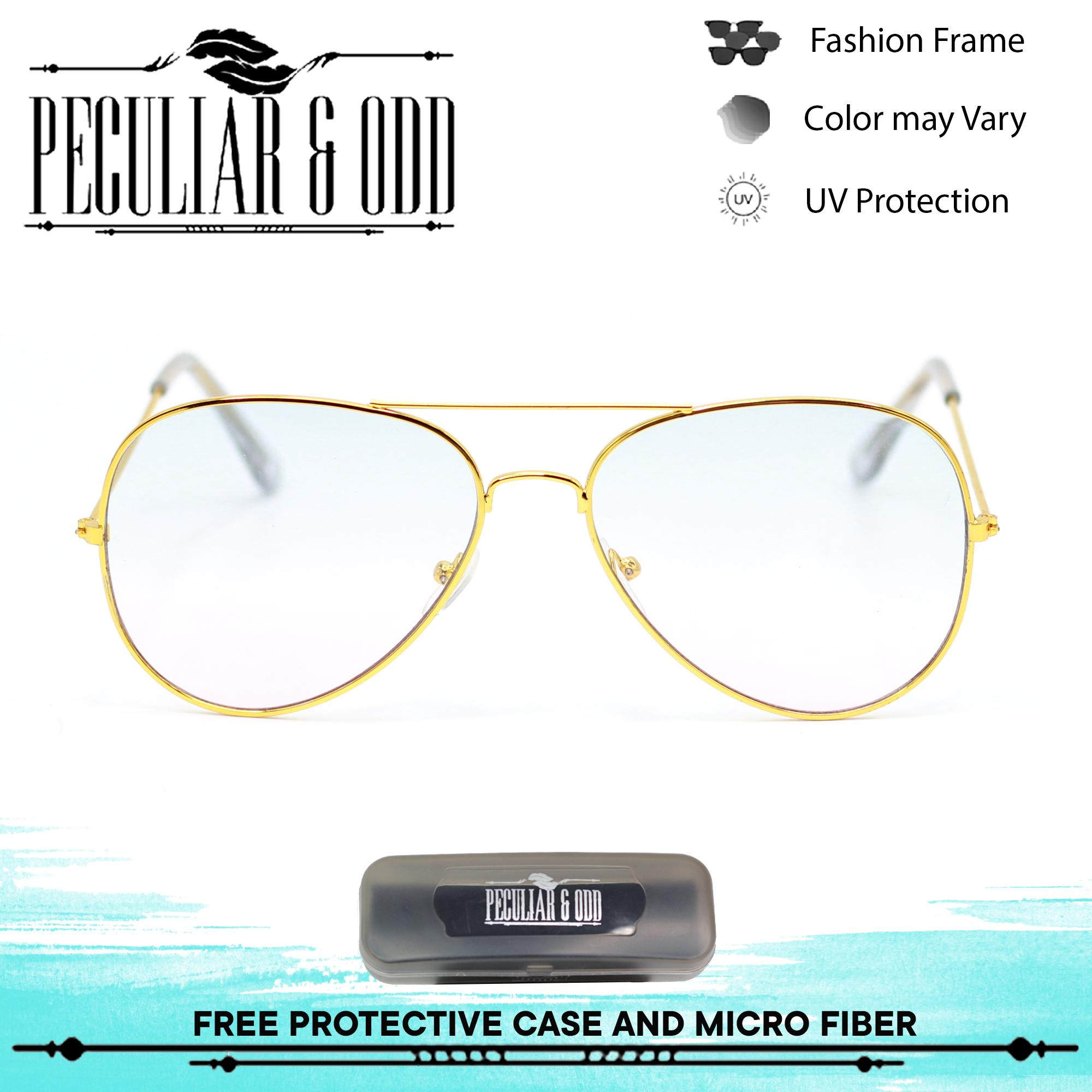 0643a7300b0 Peculiar Gold Aviator Trans Blue Pink Flash Lenses Straight Unisex  Sunglasses  13025