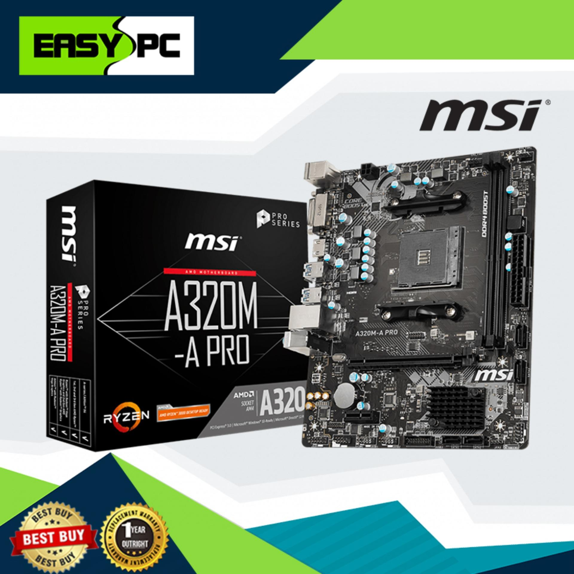 MSI A320M A Pro 3200mhz Max Support Ddr4 Motherboard DVI-D and HDMI Supported, Supports 1st, 2nd and 3rd Gen AMD Ryzen and DDR4 Memory, up to 3200 (OC) MHz Best Combination with Ryzen Processor. Windows 10 compatible. Recommended for Diskless set up.