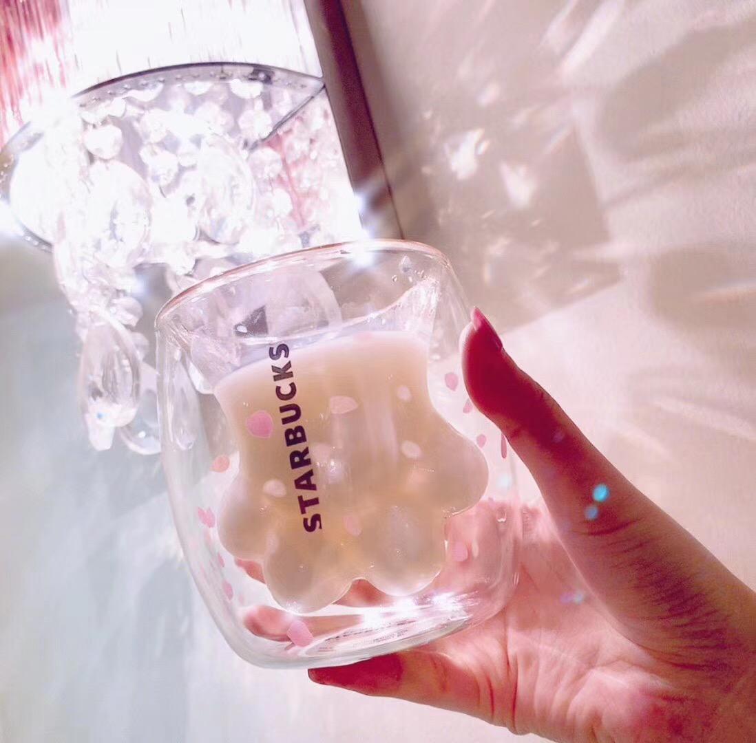Pink Cat Claw Glass Starbucks Sakura Cherry Series Double Transparent Coffee Cup