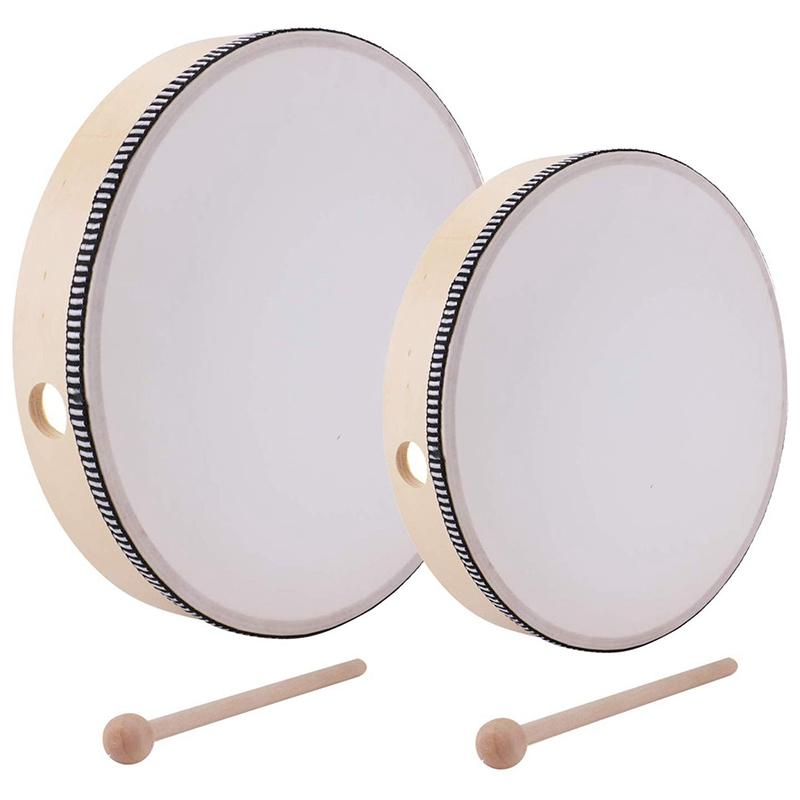 10 Inch & 8 Inch Hand Drum Kids Percussion Wood Frame Drum with Drum Stick