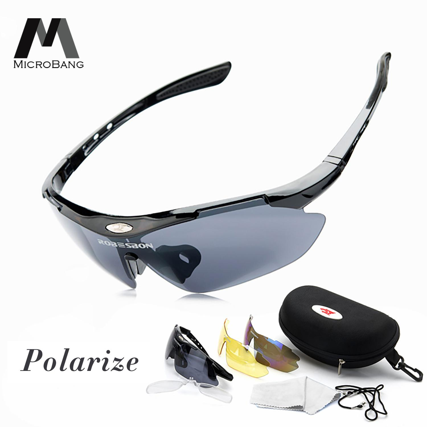 f34a56bf31df MicroBang Polarize Sports Cycling Sunglasses for Men Women Cycling Riding  Running Glasses with 3 Interchangeable Lenses