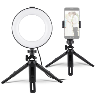 Andoer 6 Inches Ring Fill Light Kit with Tripod Stands & Phone Holder & Remote Shutter Adjustbale Brightness Height for Smartphone Live Streaming Makeup Tutor Video Shooting Photography Black thumbnail