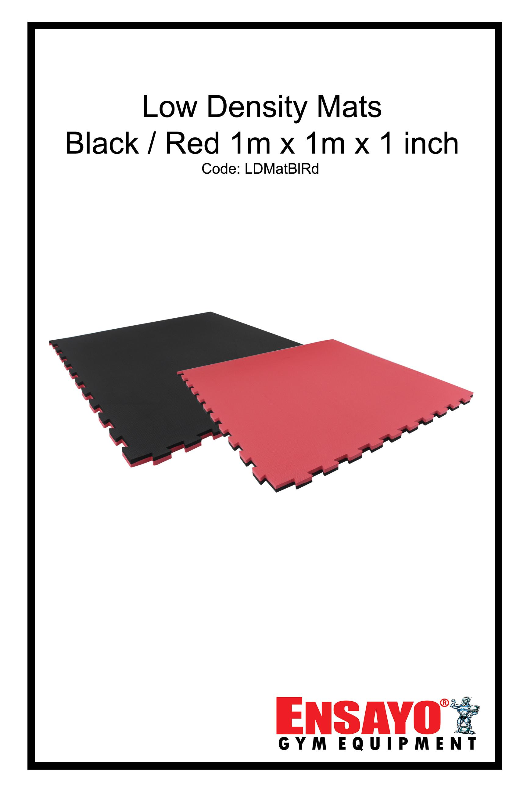 Ensayo Low Density Mats Black/red 1x1 Meter X1-Inch Best Home/commercial Gym Use(exercise/workout/judo/gymnastics/jiu-Jitsu/yoga/grappling/strength/training/aerobic);high Quality 1m Soft Adjustable Puzzle Flooring For Dumbbell/bench/kettle Bell/bars By Ensayo Gym Equipment.