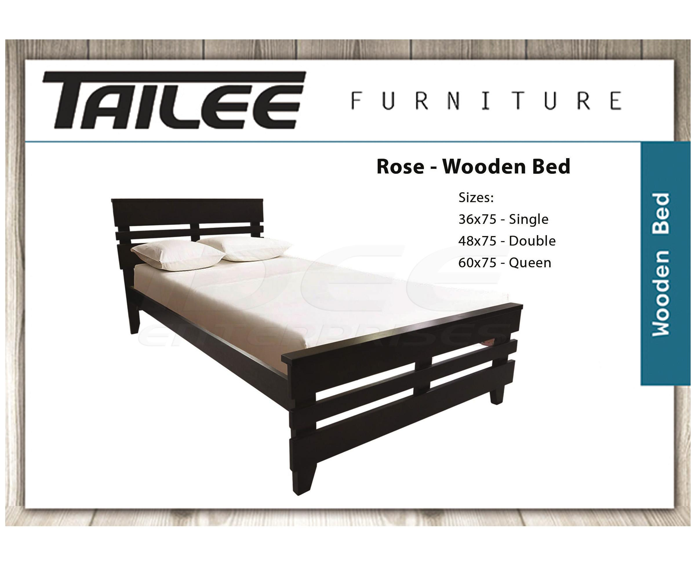 0a3385e71884 Tailee Furniture Rose Malaysian Rubber Wood Bed Frame (Cappuccino)
