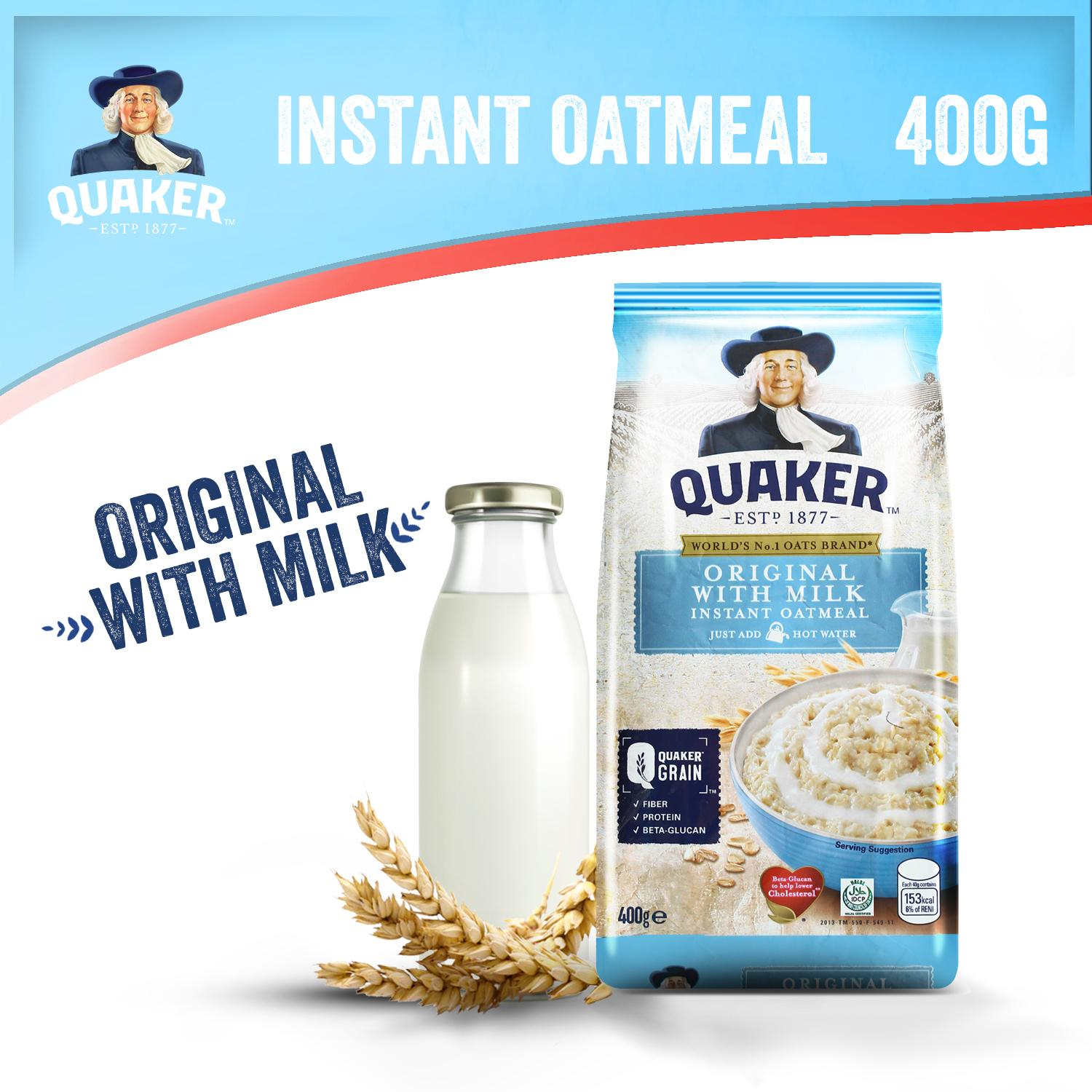 Quaker Instant Oatmeal Original With Milk Flavor 400g By Quaker.
