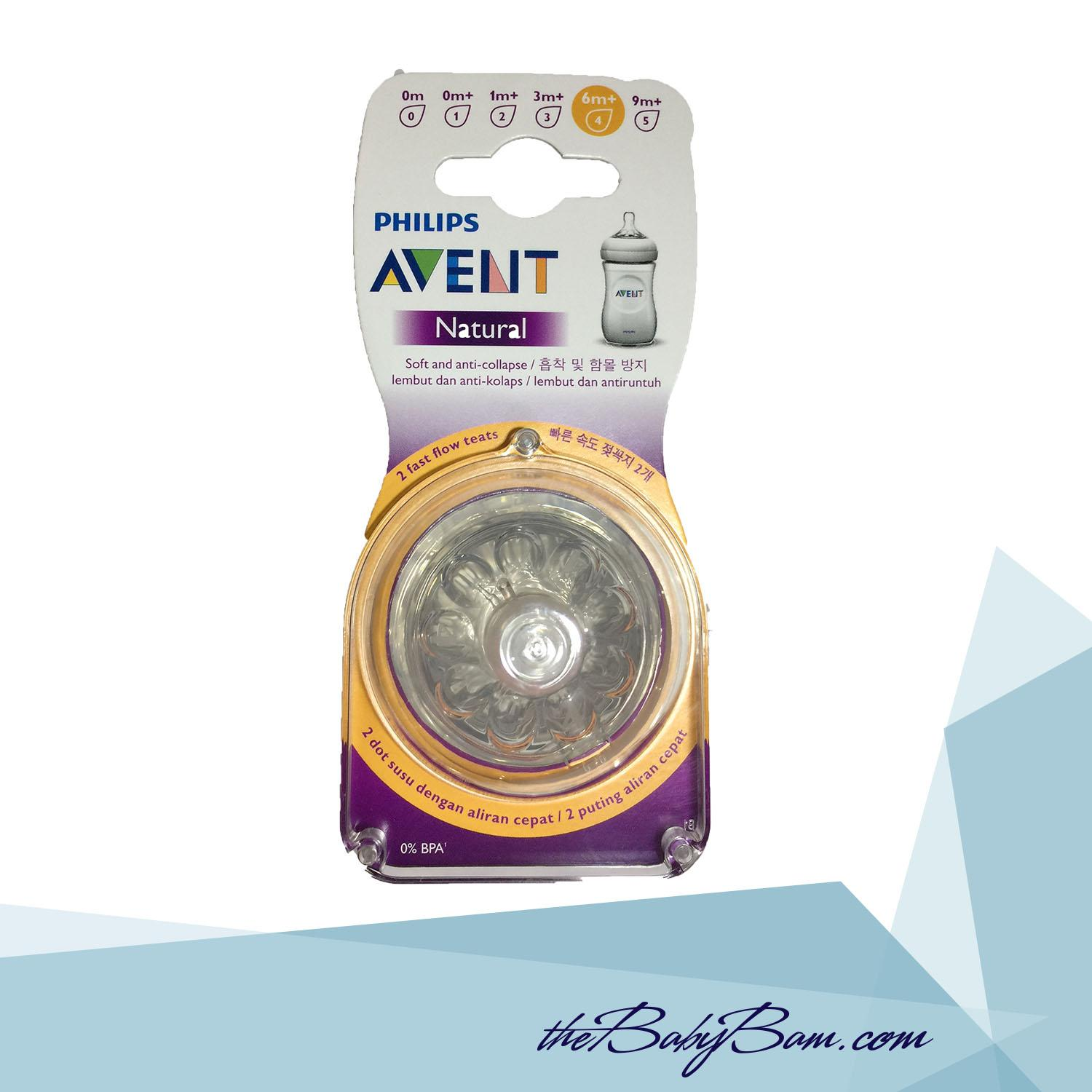 Philips Avent Natural Nipple / Teats 6m+ 2pcs Fast Flow By Thebabybam.