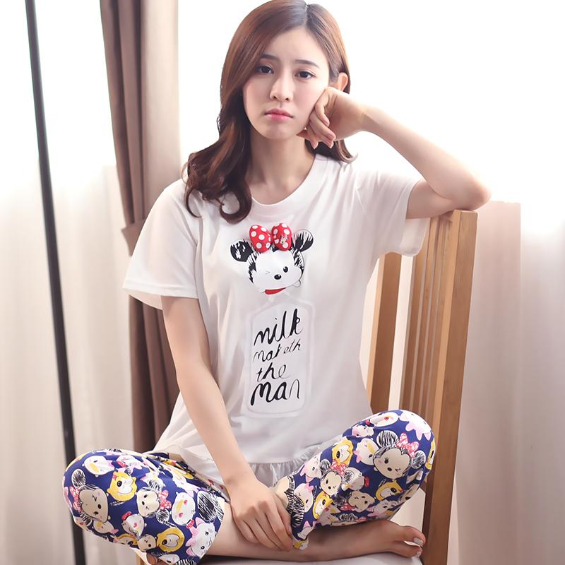 Cute women V-neck pullover tracksuit summer cotton pajamas (Y381 green)  Women Lingerie 1ce3f23dd