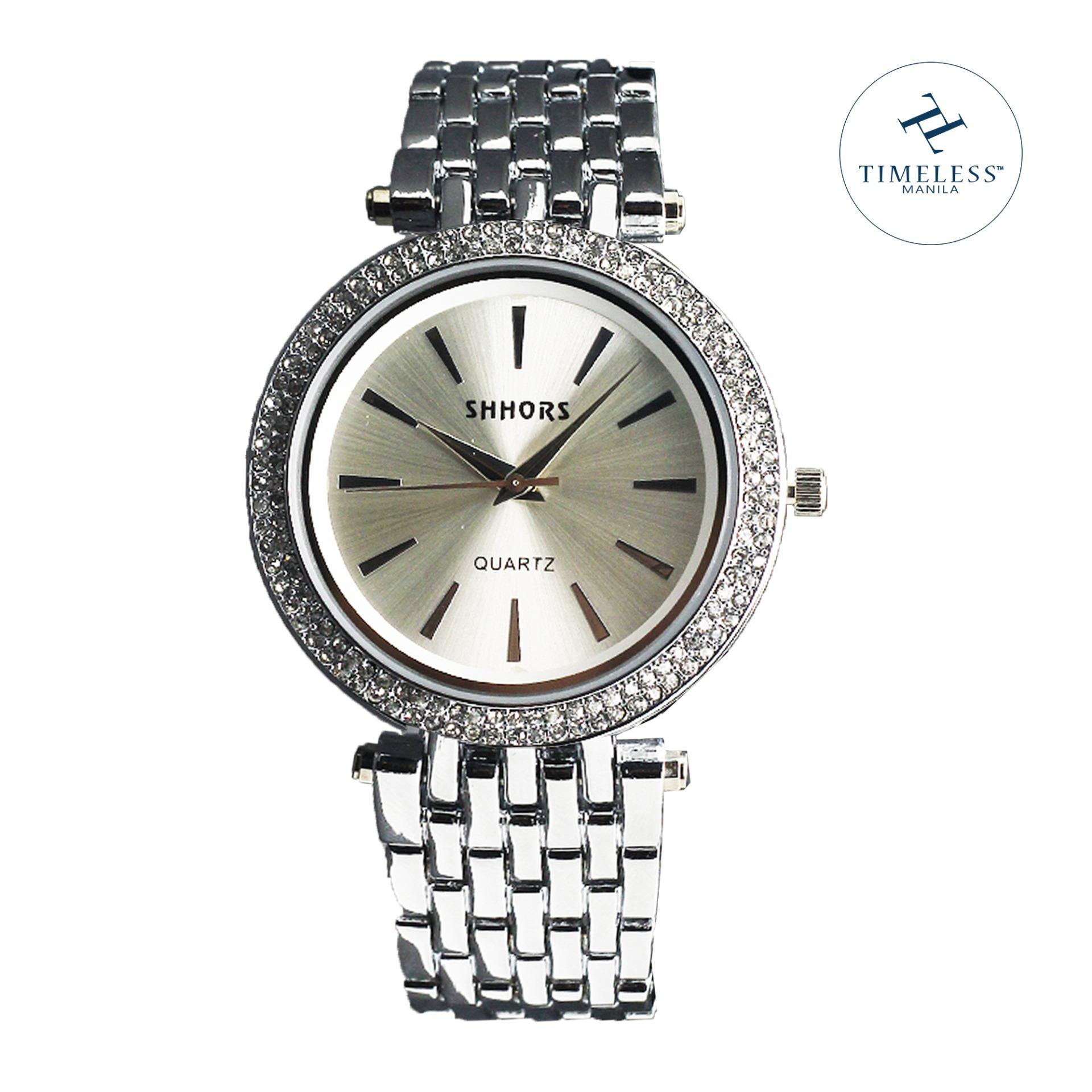 Shhors Melissa Classic Studded Linear Metal Watch (Silver)