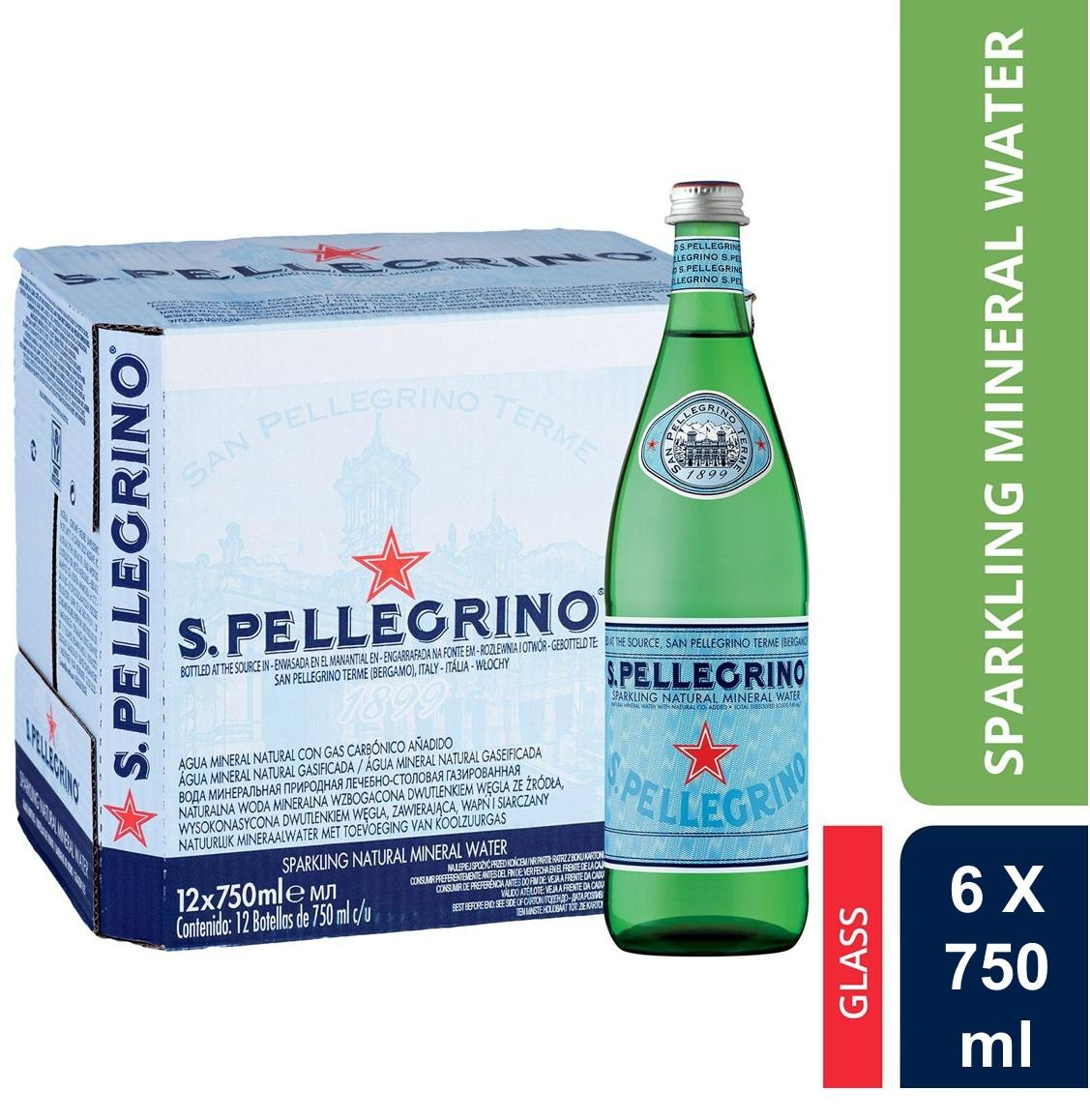 San Pellegrino Sparkling Natural Mineral Water 750ml 6 Bottles By Eolo Inc..