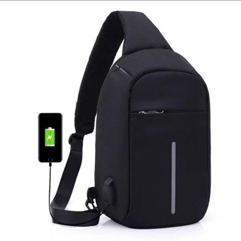 Anti Theft Sling Bag Cross Body Bag Unisex Messenger Casual Bag External USB Charge Travel Bags image on snachetto.com