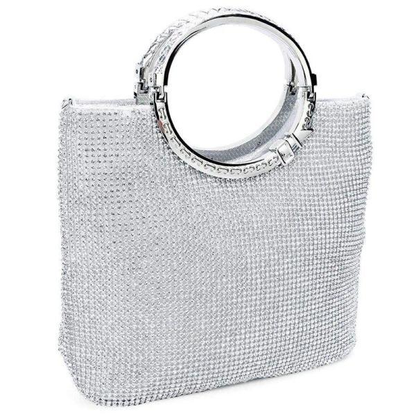 Womens Handbag Rhinestone + satin Bag Evening Bags Wedding Clutch Purse(Silver)