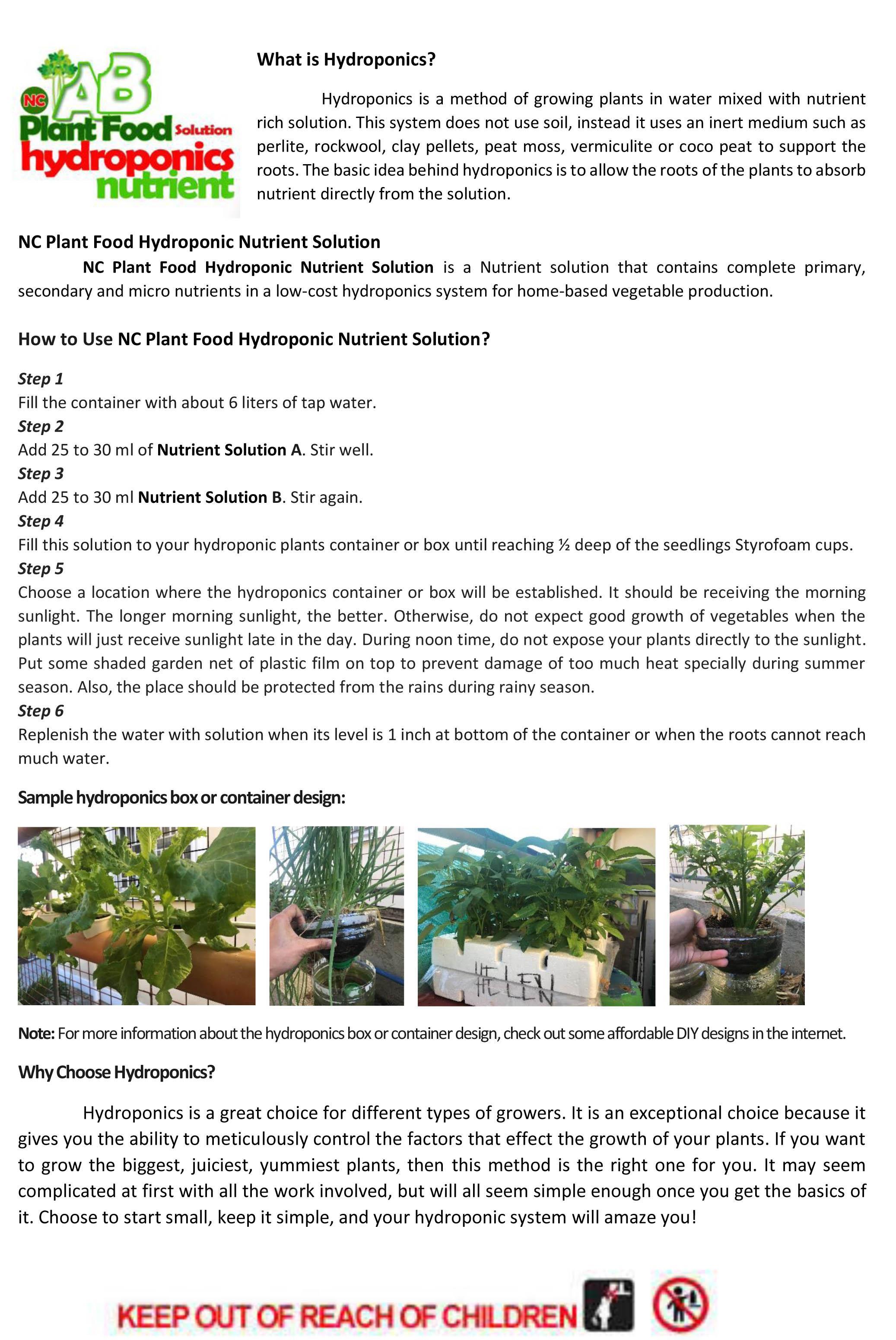 Hydroponics Nutrient Solution 500ml Set A&B