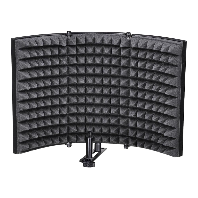 Microphone Isolation Shield, Studio Mic Sound Absorbing Foam Reflector For Any Condenser Microphone Recording Equipment Studio, Black
