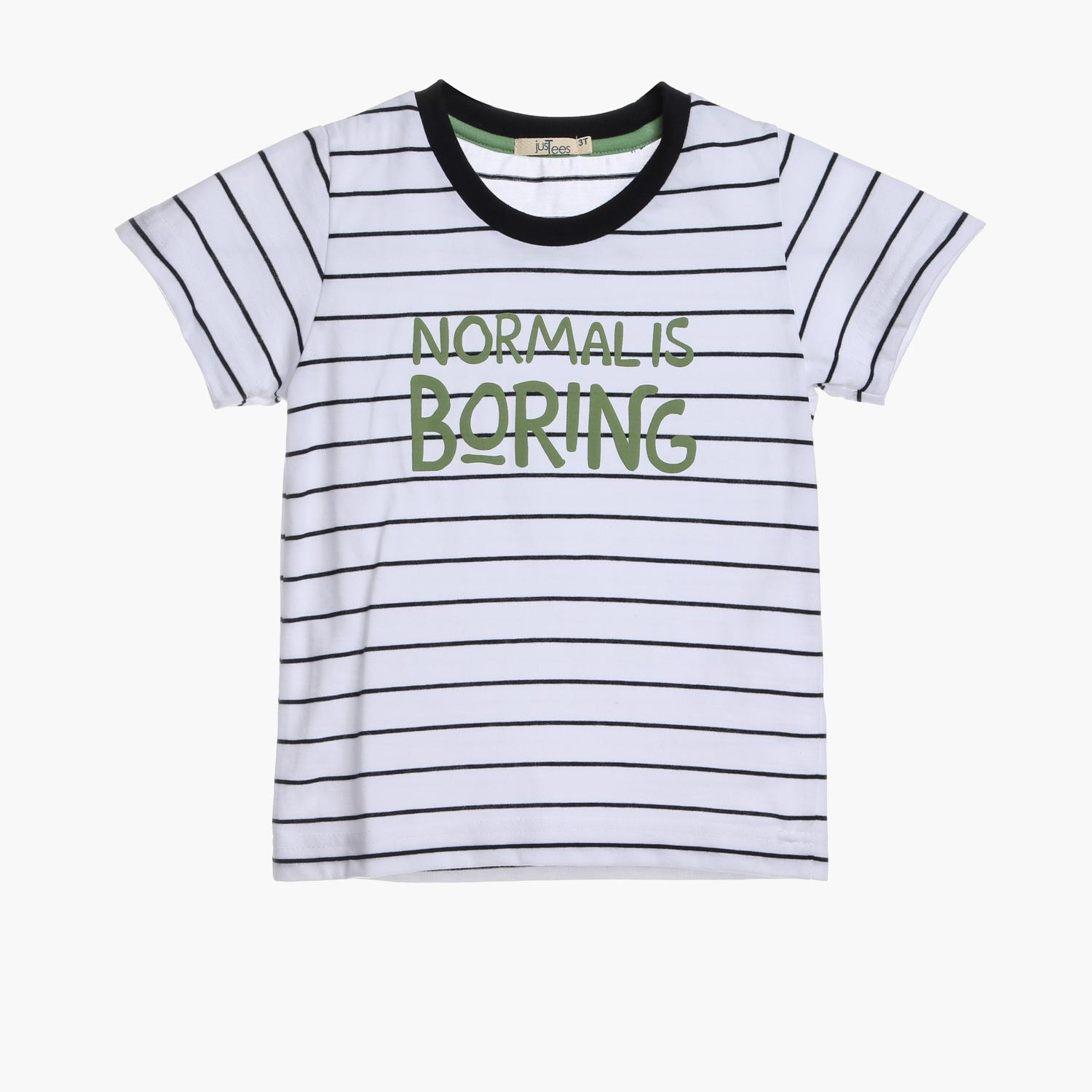 JusTees Toddler Boys Normal Is Boring Tee White
