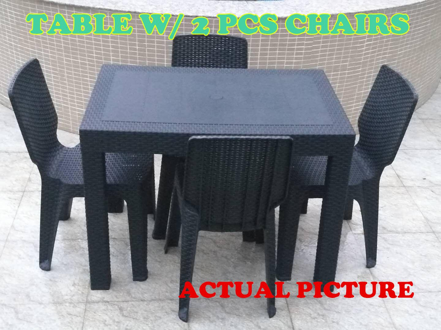 Outstanding Dining Table Set Table And 2Pcs Chair Outdoor Table Indoor Table Dinning Room Set Furniture Set Rattan Design Sunrise 24X38 Home Interior And Landscaping Palasignezvosmurscom