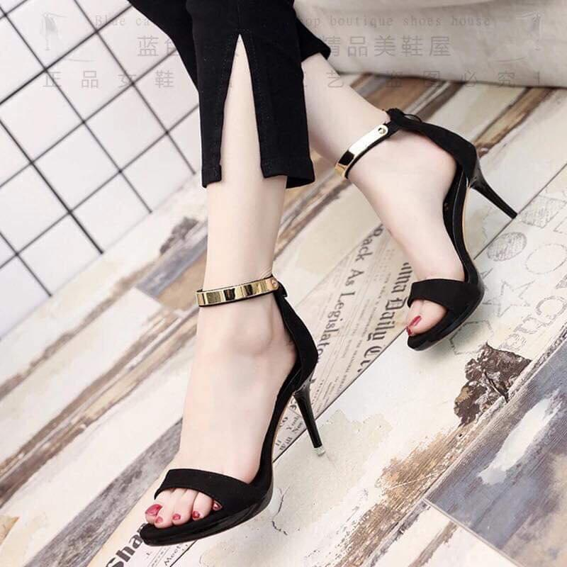 d886902351c Pointed Heel Peep Toe Suede Gold Ankle Strap Sandals