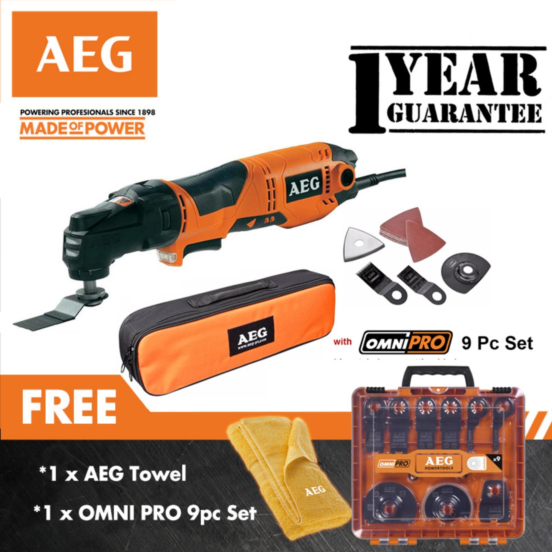 AEG OMNI 300- Kit with 9pcs Oscillating Tool Set (Multi Tool)