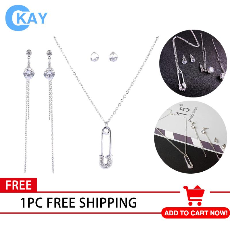 488f6b42a5862b COD【Free Shipping Fee】3 Sets 925 Silver Plated Personality Paper Clip Pendant  Jewelry