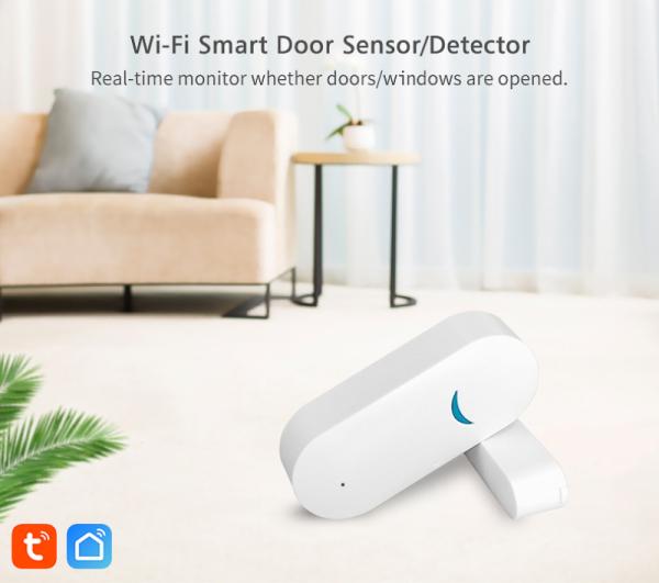 Product marketing Discount Tuya Smart WiFi Door Sensor Door Open / Closed Detectors Wifi Home Alarm Compatible With Alexa Google Home Tuya APP